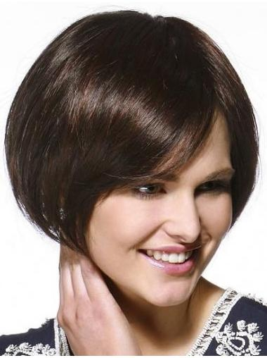 Suitable Brown Straight Chin Length Remy Human Lace Wigs