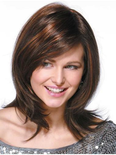 Fashionable Monofilament Wavy Shoulder Length Remy Human Lace Wigs