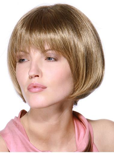 Online Blonde Straight Chin Length Remy Human Lace Wigs