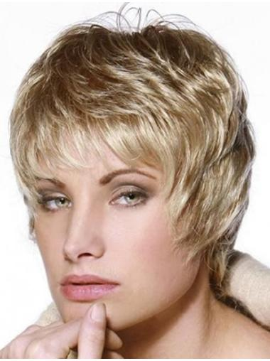 Blonde Straight Remy Human Hair Stylish Short Wigs