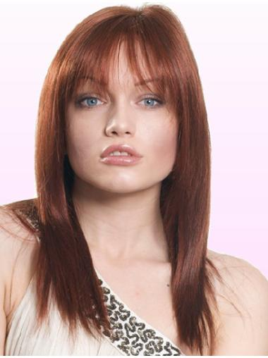 Unique Auburn Lace Front Shoulder Length Human Hair Wigs