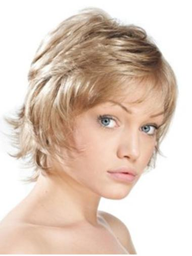 Blonde Monofilament Synthetic Natural Short Wigs