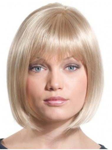 Shining Blonde Straight Chin Length Synthetic Wigs