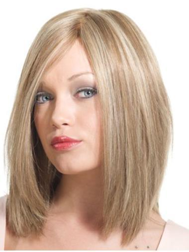 Online Blonde Monofilament Shoulder Length Remy Human Lace Wigs