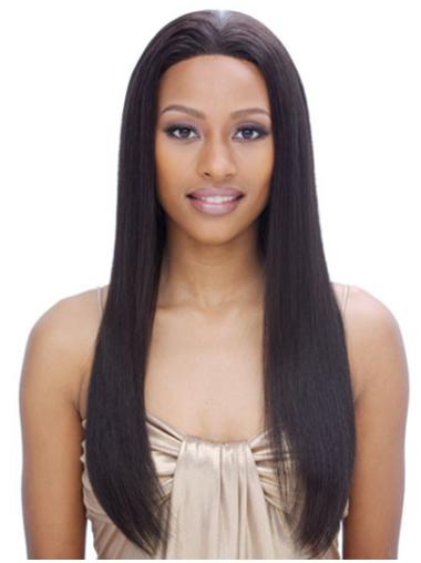 Modern Black Straight Long Remy Human Lace Wigs