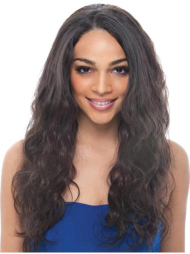 Fashionable Black Wavy Remy Human Hair Long Wigs