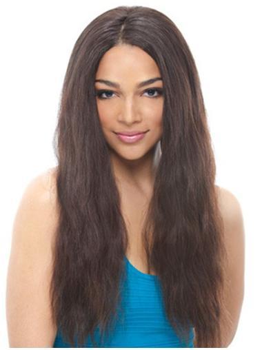 Refined Black Wavy Remy Human Hair Long Wigs