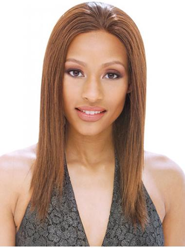 Nice Brown Straight Shoulder Length Remy Human Lace Wigs