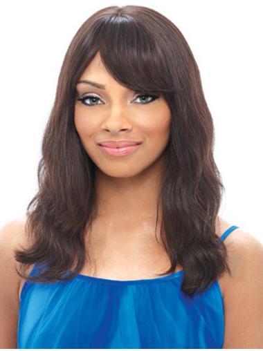 Fashion Black Wavy Shoulder Length Human Hair Wigs