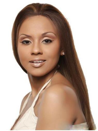 Designed Remy Human Hair Lace Front Straight Long Wigs