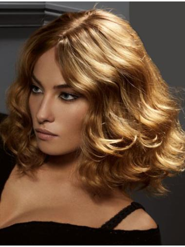 Top Blonde Wavy Shoulder Length Remy Human Lace Wigs
