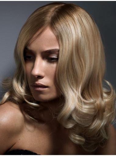 Affordable Blonde Wavy Shoulder Length Lace Wigs