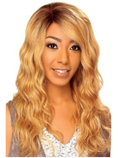 Blonde Wavy Remy Human Hair Pleasing Long Wigs