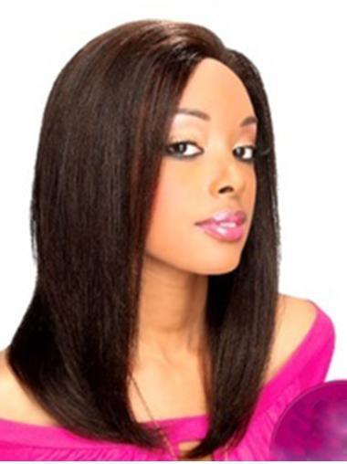 Good Black Lace Front Shoulder Length Human Hair Wigs