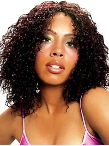 Black Curly Shoulder Length Wigs