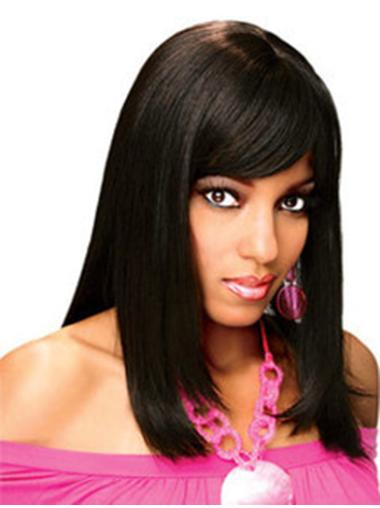 Exquisite Black Straight Shoulder Length Human Hair Wigs