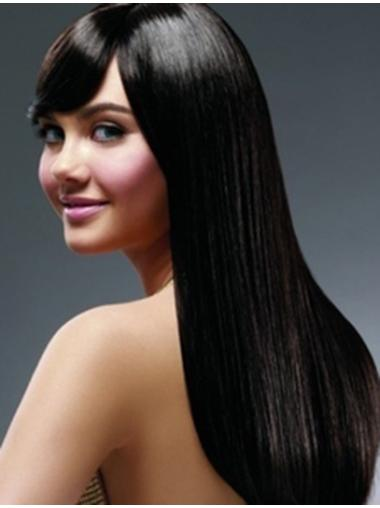 Good Black Straight Remy Human Hair Long Wigs