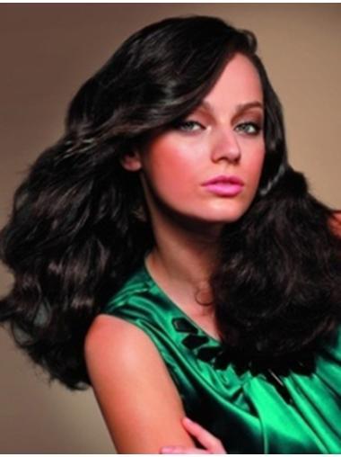 Incredible Black Wavy Remy Human Hair Long Wigs