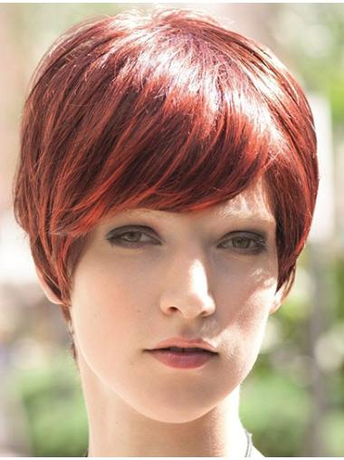 Red Affordable Boycuts Straight Short Wigs