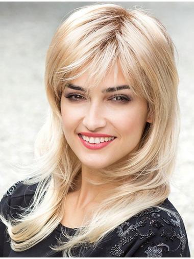 Unique Blonde Monofilament Synthetic Long Wigs