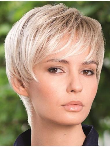 Refined Straight Boycuts Blonde Short Wigs