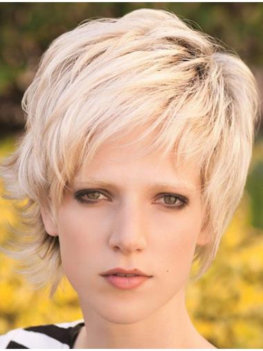 Synthetic Blonde Straight Braw Short Wigs