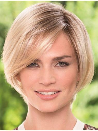 Elegant Monofilament Blonde Chin Length Lace Wigs