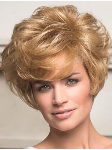 Blonde Wavy Remy Human Hair Discount Short Wigs