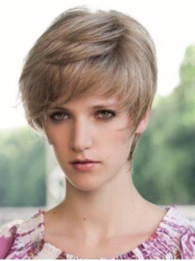 Blonde Top Boycuts Monofilament Short Wigs