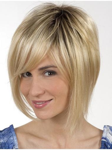 Soft Blonde Monofilament Chin Length Lace Wigs
