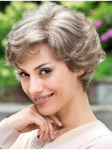 Great Wavy Short Synthetic Grey Wigs