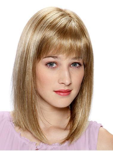 Elegant Blonde Straight Shoulder Length Monofilament Wigs