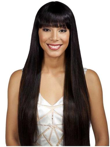 Tempting Black Straight Long Full Lace Wigs
