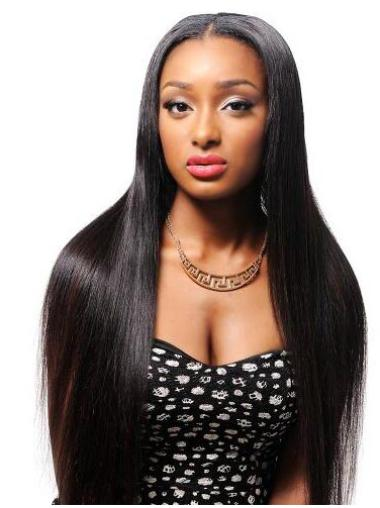 """Black Yaki 26"""" Without Bangs Remy Human Hair 360 Lace Wigs"""