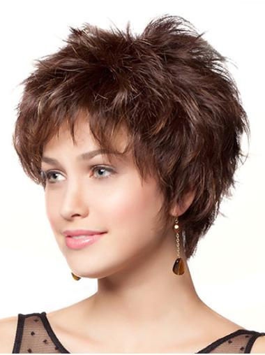 Monofilament Online Layered Wavy Short Wigs