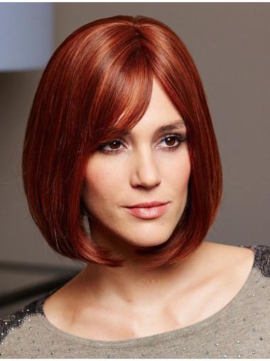 Discount Auburn Straight Chin Length Human Hair Wigs
