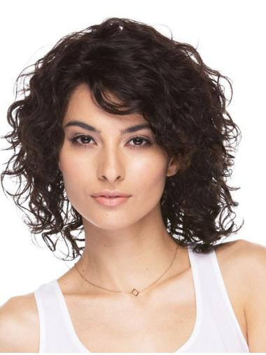 Refined Brown Wavy Shoulder Length Human Hair Wigs