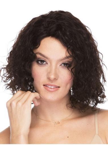 Faddish Brown Curly Shoulder Length Human Hair Wigs