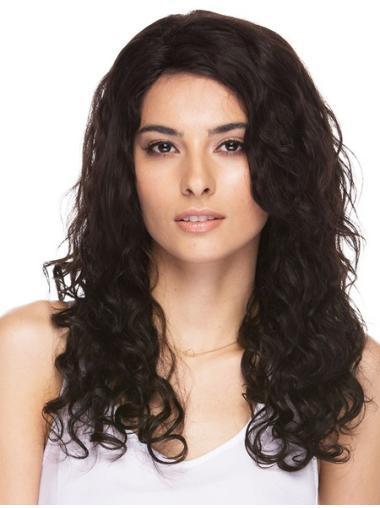 Fashionable Brown Curly Long Human Hair Wigs