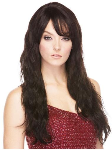 Graceful Brown Wavy Long Human Hair Wigs