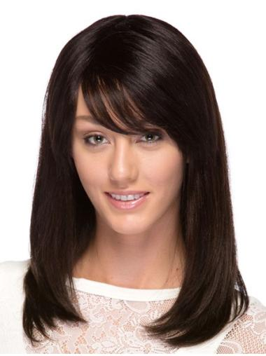 Suitable Brown Straight Long Human Hair Wigs