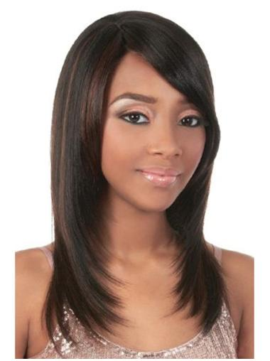 Affordable Brown Straight Long African American Wigs