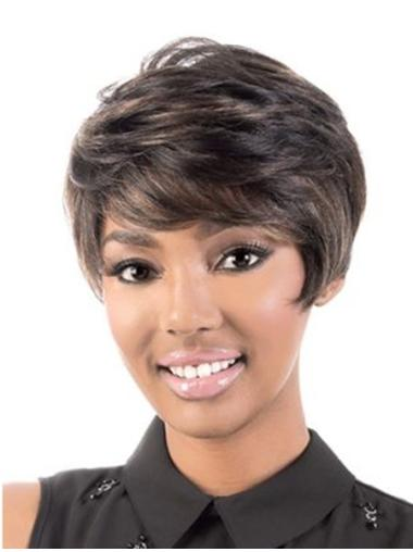 Designed Brown Wavy Short African American Wigs