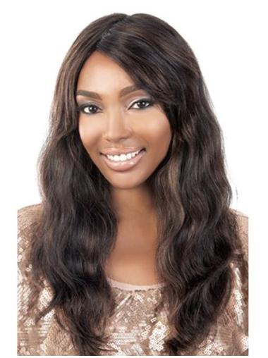 Soft Brown Wavy Long African American Wigs