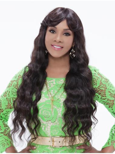 Exquisite Brown Wavy Long African American Wigs