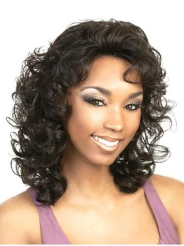 Top Black Curly Shoulder Length Classic Wigs