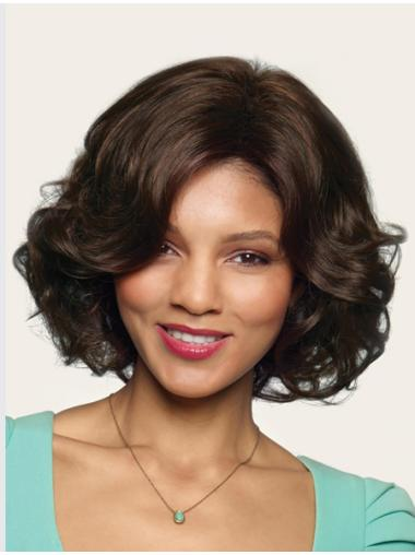 Pleasing Brown Wavy Chin Length Synthetic Wigs
