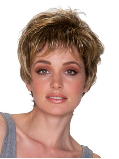 Fashionable Blonde Wavy Short Synthetic Wigs