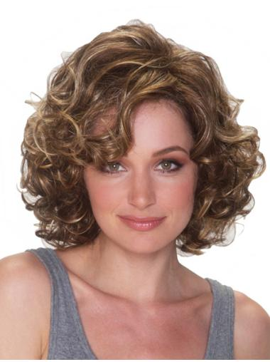 Impressive Blonde Curly Chin Length Synthetic Wigs