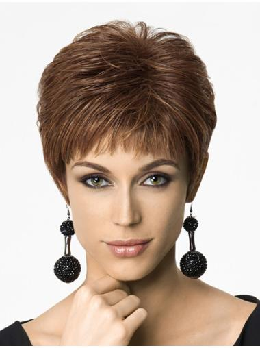 Soft Auburn Straight Cropped Synthetic Wigs